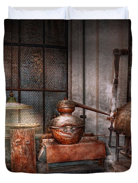 Steampunk - Private Distillery  Duvet Cover by Mike Savad