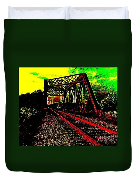 Steampunk Railroad Truss Bridge Duvet Cover