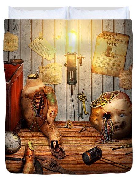 Steampunk - Repairing A Friendship Duvet Cover by Mike Savad