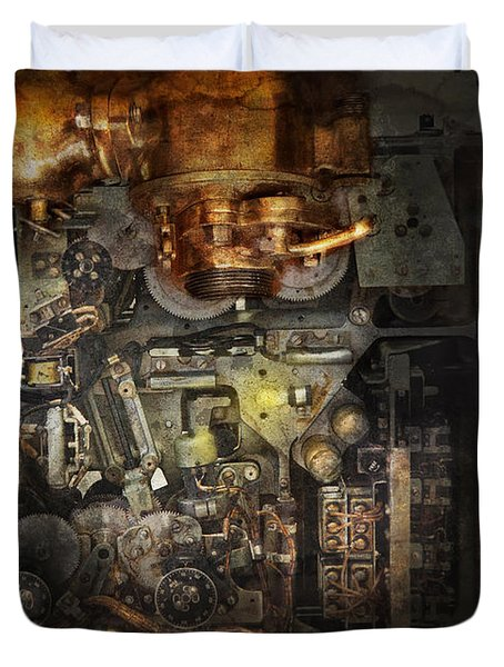 Steampunk - The Turret Computer  Duvet Cover by Mike Savad