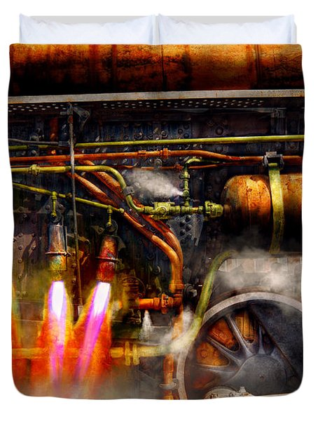Steampunk - Train - The Super Express  Duvet Cover by Mike Savad