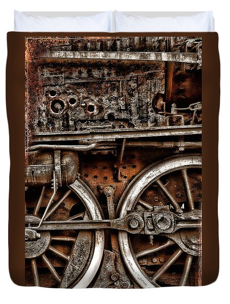 Steampunk- Wheels Locomotive Duvet Cover