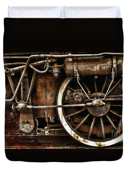 Steampunk- Wheels Of Vintage Steam Train Duvet Cover