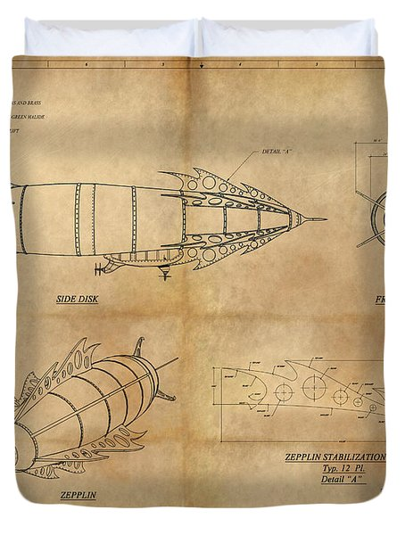 Steampunk Zepplin Duvet Cover