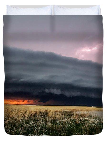 Steamroller - Storm Spans Horizon In Kansas Duvet Cover