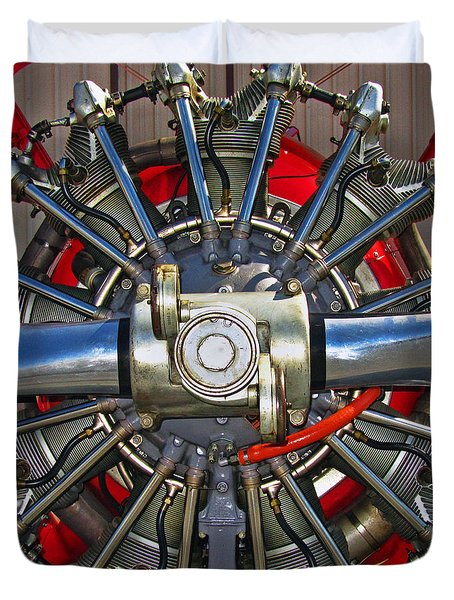 Stearman Engine Duvet Cover by Dale Jackson