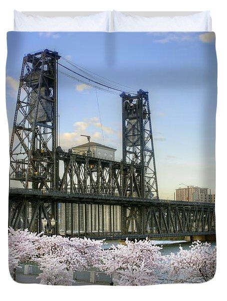 Steel Bridge And Cherry Blossom Trees In Portland Oregon Duvet Cover