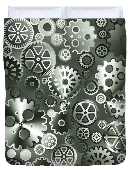 Steel Gears Duvet Cover by Gaspar Avila