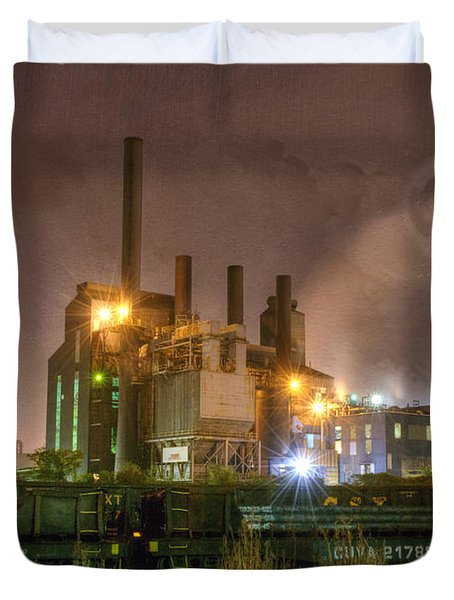 Steel Mill At Night Duvet Cover by Juli Scalzi