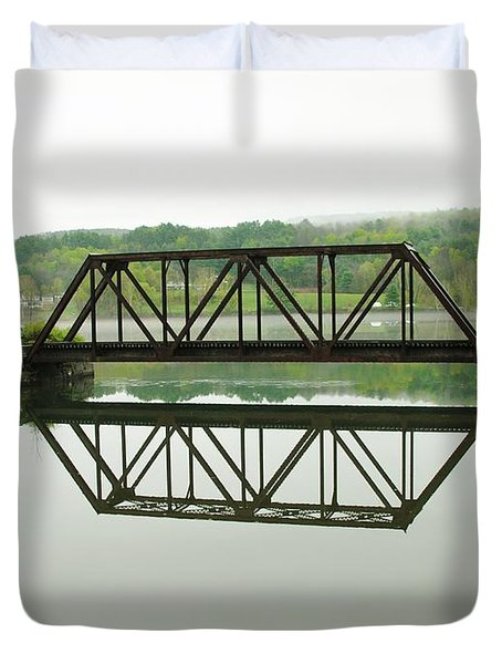 Duvet Cover featuring the photograph Vermont Steel Railroad Trestle On A Calm  Misty Morning by Sherman Perry