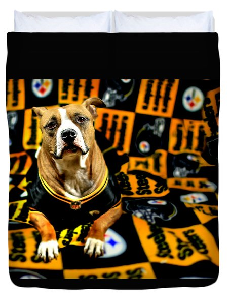 Pitbull Rescue Dog Football Fanatic Duvet Cover