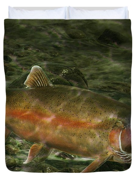 Steelhead Trout Spawning Duvet Cover by Randall Nyhof
