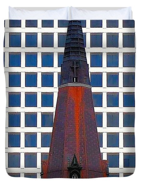 Duvet Cover featuring the photograph Steeple And Office Building by Janette Boyd