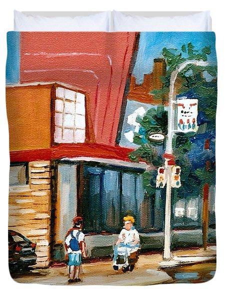 Steinberg's  On Van Horne Street Outremont Montreal Landmarks Duvet Cover by Carole Spandau