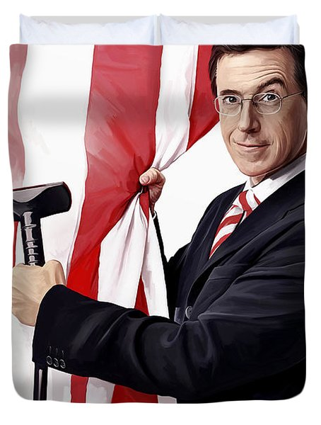 Duvet Cover featuring the painting Stephen Colbert Artwork by Sheraz A