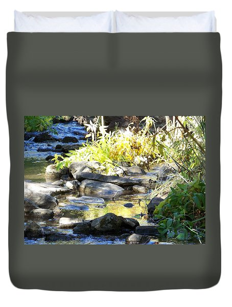Duvet Cover featuring the photograph Stepping Stones by Sheri Keith