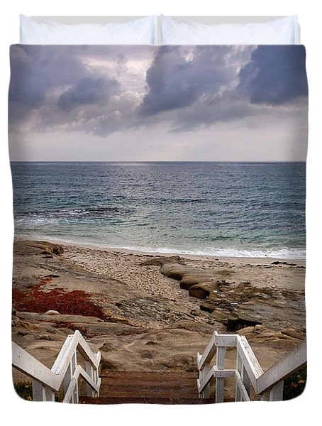 Steps And Pelicans Duvet Cover