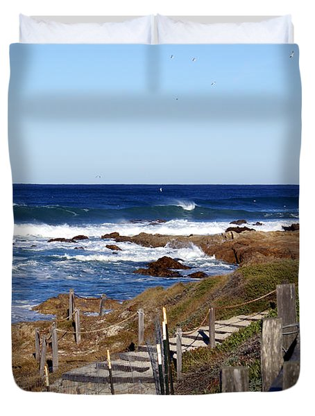 Steps To The Sea Duvet Cover by Barbara Snyder