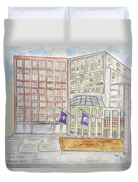 Nyu Stern School Of Business Duvet Cover by AFineLyne