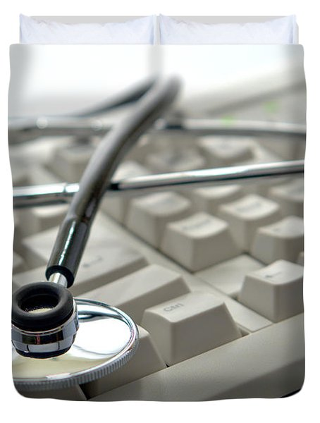 Stethoscope On Computer Keyboard Duvet Cover