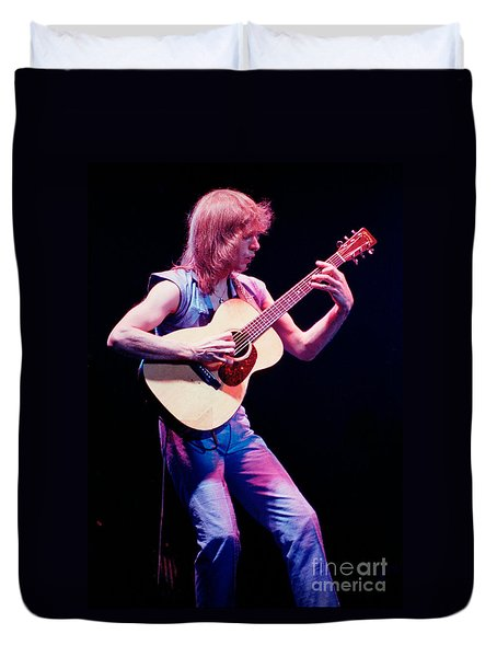Steve Howe Of Yes Performing The Clap Duvet Cover