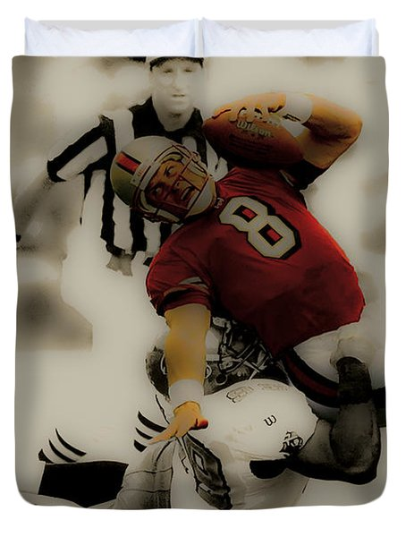 Duvet Cover featuring the digital art Steve Young Going Down by Brian Reaves