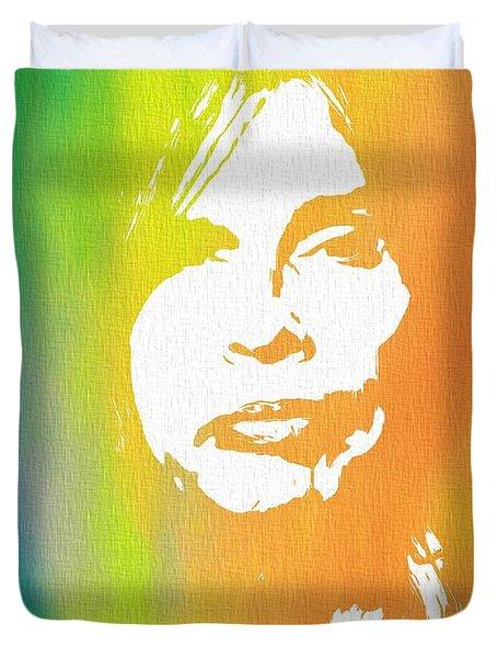 Steven Tyler Canvas Duvet Cover by Dan Sproul