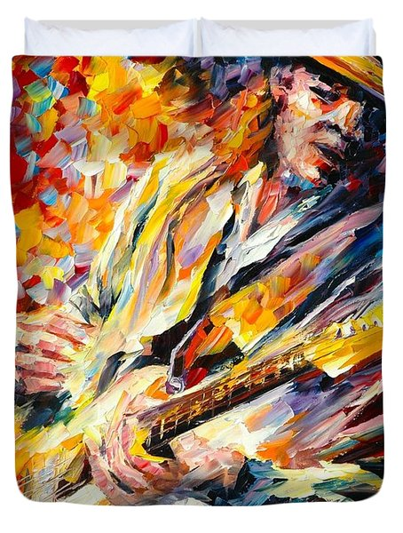 Stevie Ray Vaughan Duvet Cover by Leonid Afremov