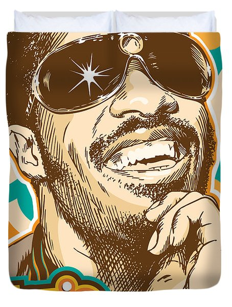Stevie Wonder Pop Art Duvet Cover