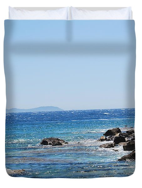 Duvet Cover featuring the photograph Stiff Breeze by George Katechis