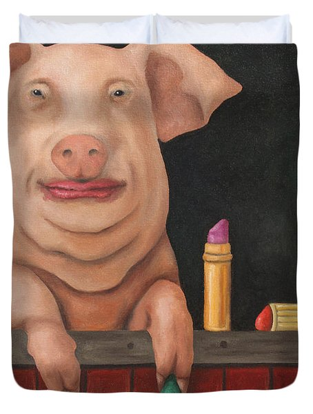 Still A Pig Duvet Cover by Leah Saulnier The Painting Maniac