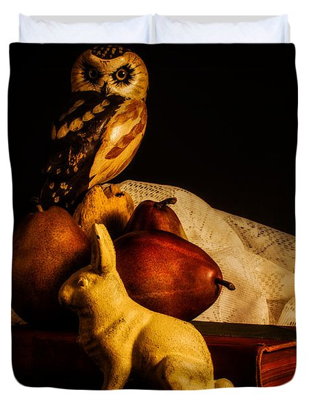 Still Life - Owl Pears And Rabbit Duvet Cover