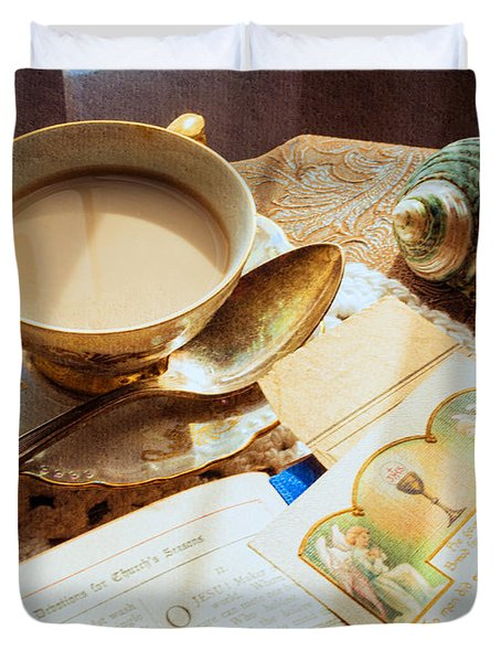 Still Life - Teacup Shell And Devotions Duvet Cover