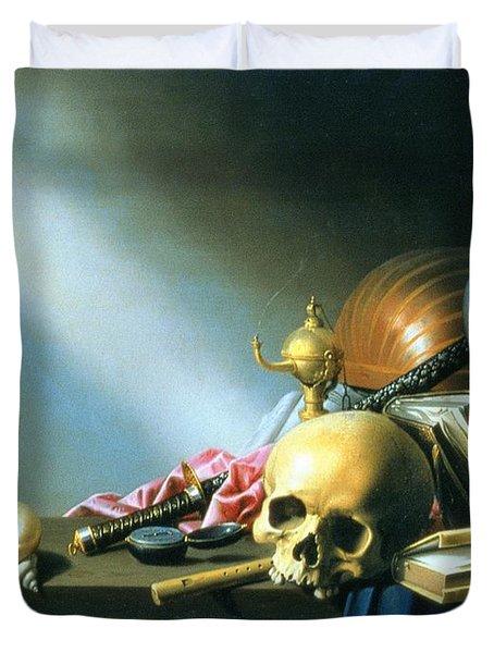 Still Life An Allegory Of The Vanities Of Human Life Duvet Cover by Harmen van Steenwyck