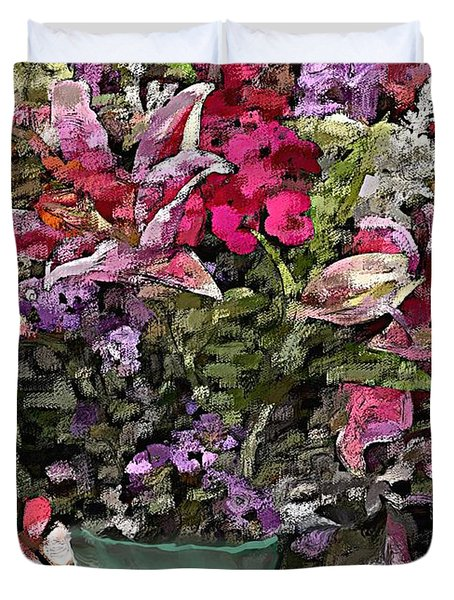 Duvet Cover featuring the digital art Still Life Floral by David Lane
