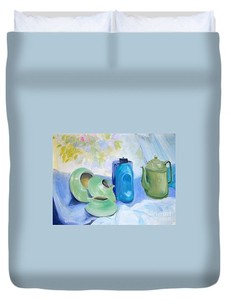 Duvet Cover featuring the painting Still Life In Blue And Green Pottery by Greta Corens