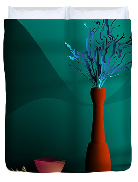 Duvet Cover featuring the digital art Still Life In Studio by Leo Symon