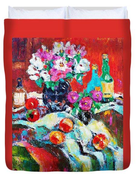 Still Life In Studio With Blue Bottle Duvet Cover by Becky Kim