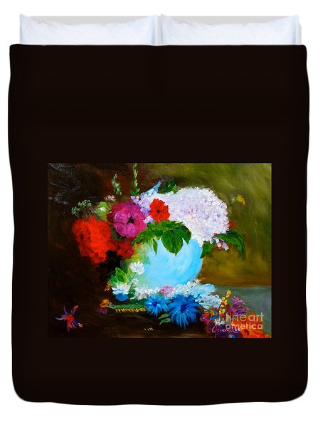 Duvet Cover featuring the painting Still Life by Jenny Lee
