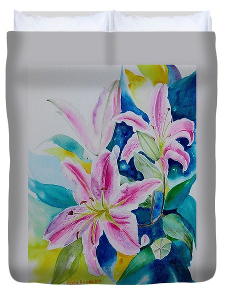 Duvet Cover featuring the painting Still Life Lilies by Geeta Biswas