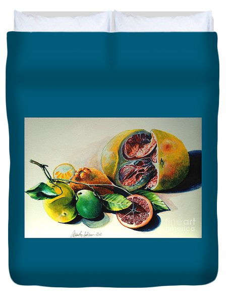 Still Life Of Citrus Duvet Cover by Alessandra Andrisani