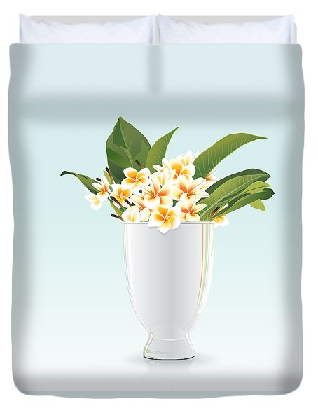 Still Life Of Frangipani Duvet Cover by Prakaisak Rojprasert