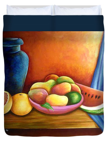 Still Life Of Fruits Duvet Cover