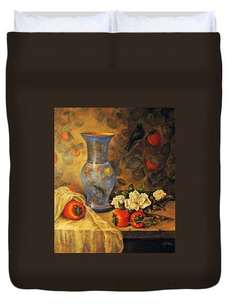 Still Life Of Persimmons  Duvet Cover