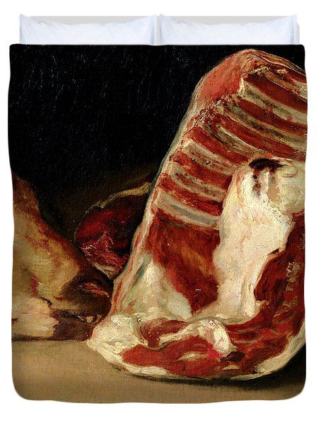 Still Life Of Sheep's Ribs And Head Duvet Cover by Francisco Jose de Goya y Lucientes