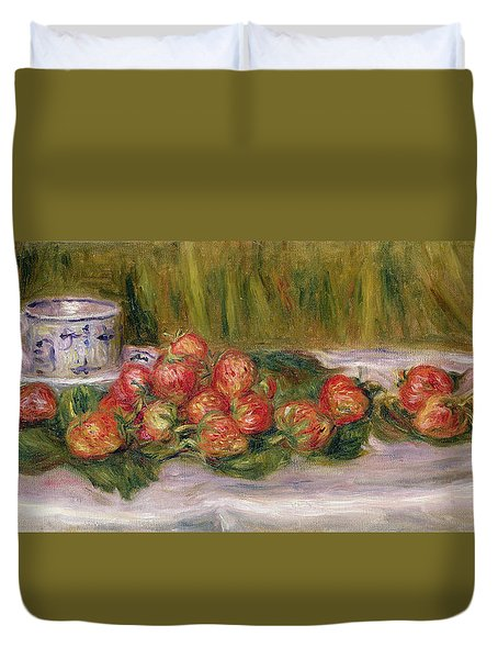 Still Life Of Strawberries And A Tea Cup Duvet Cover by Pierre Auguste Renoir