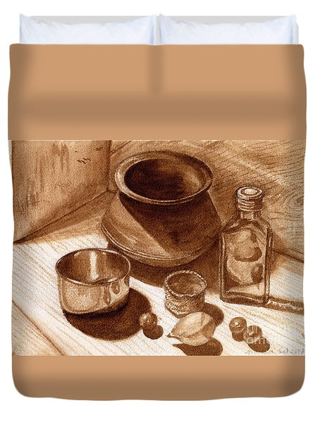 Still Life Walnut Ink Duvet Cover