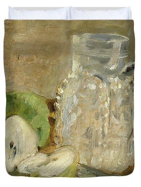 Still Life With A Cut Apple And A Pitcher Duvet Cover by Berthe Morisot