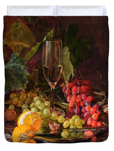 Still-life With A Glass Of Wine And Grapes Duvet Cover