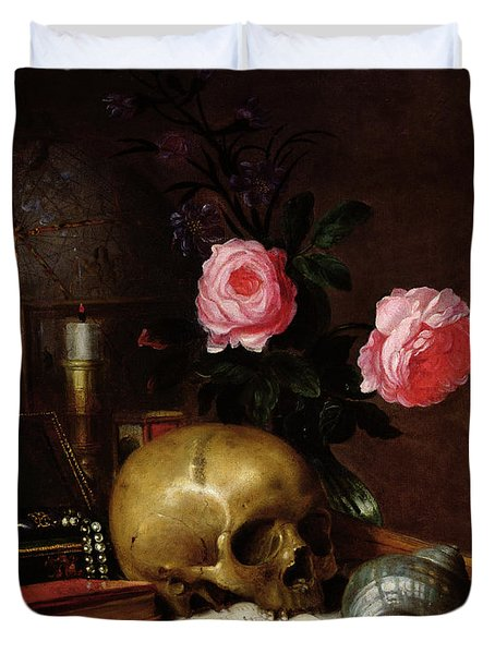 Still Life With A Skull Oil On Canvas Duvet Cover